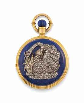 A LATE 19TH CENTURY GOLD, LAPIS LAZULI AND DIAMOND HUNTER-CASE POCKET WATCH
