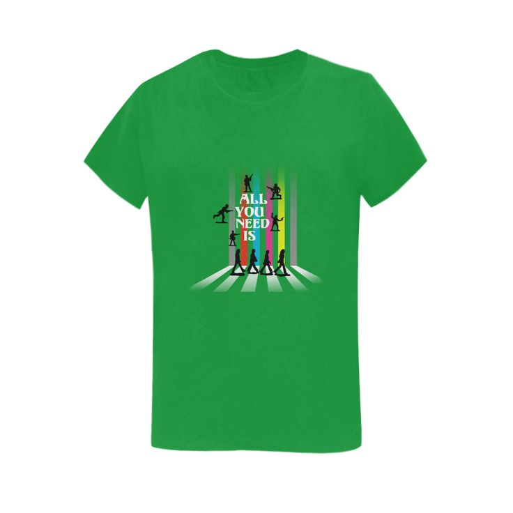 'All You Need Is...'  - Women's tee shirt @artsadd #shirtoftheday #green #nomorewar #style #abbeyroad #loveandpeace #beatlesque #popart #music #songs #toysoldiers #loveisallyouneed #allyouneedislove