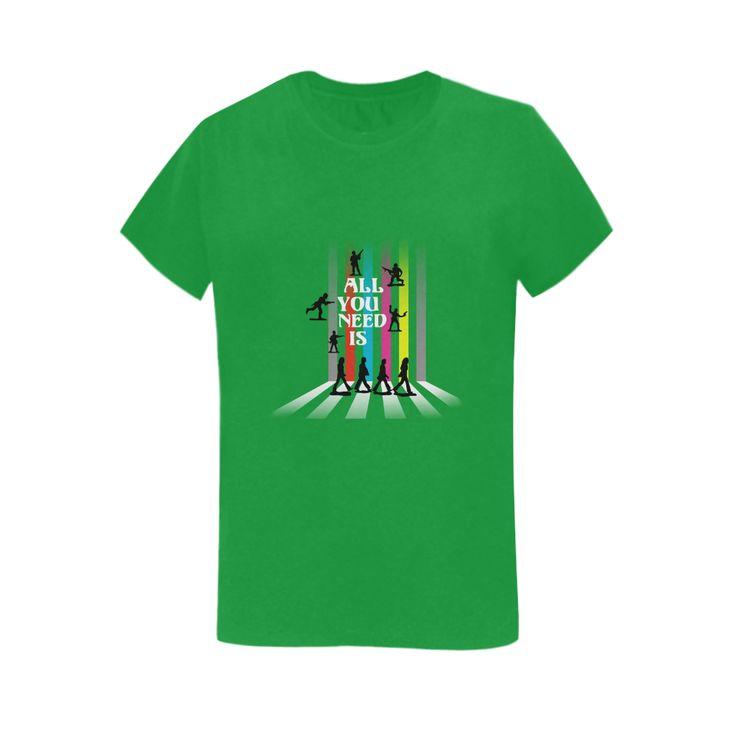 'All You Need Is...'  - Women's tee shirt @artsadd #shirtoftheday #green #nomorewar #style #abbeyroad #loveandpeace #beatlesque #popart #music #songs #toysoldiers #loveisallyouneed #allyouneedislove