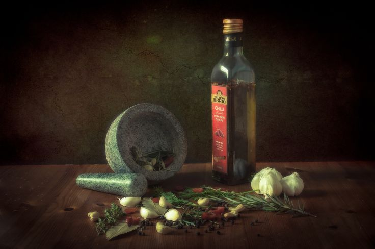 https://flic.kr/p/ERU4RC | Mortar and Pestle | Still life with mortar, pestle, olive oil, some herbs and nuts etc.