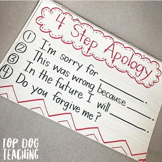 ICYMI and want to try this in 2017: We use the 4 step apology in our classroom to help kids really slow down, internalize, and sincerely reflect when saying sorry. Sometimes what kids need most isn't on the lesson plan.  Tag a parent or teacher friend in the comments who might like to try this idea.