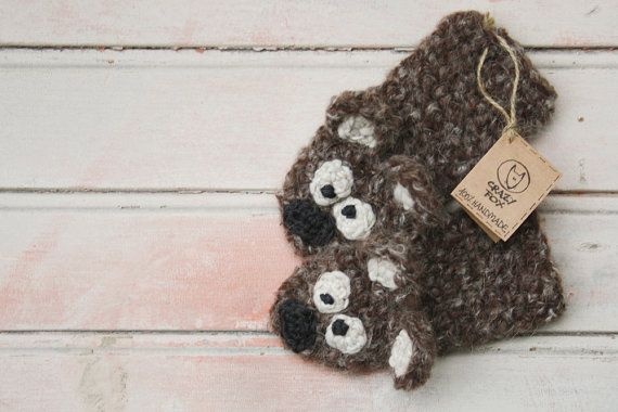 BEAR Fingerless Gloves - dark brown crochet animal hand warmers for adult and children, short gloves, wrist warmer,  hand warmers
