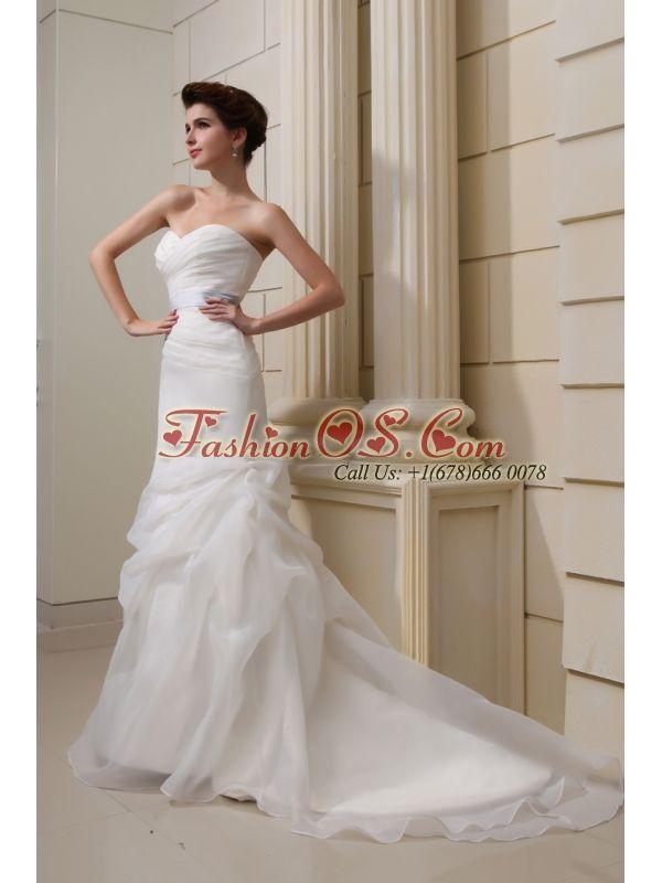 2014 Elegant Mermaid Sweetheart Belt Ruching Pick-ups Wedding Dress with Side Zipper