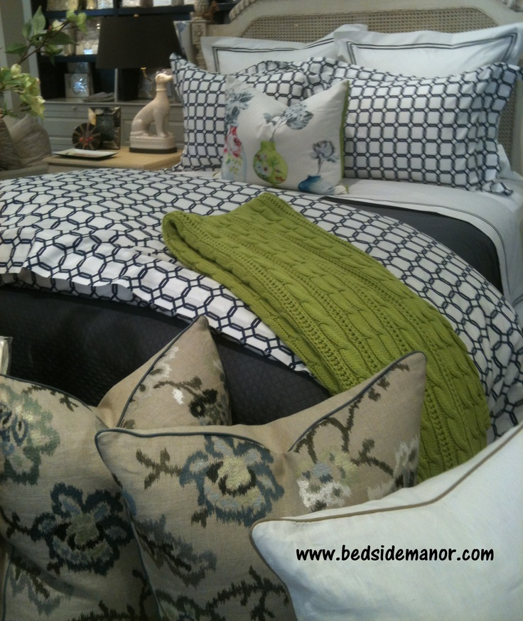 Bedside Manor in Charlotte, NC sets our Barrington Navy bed with a pop of green.
