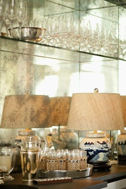 Antique mirrored backsplash for the bar | For the Home ...