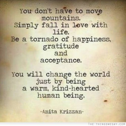 You don't have to move mountains simply fall in love with life be a tornado of happiness gratitude and acceptance you will change the world just by being a warm kind-hearted human being