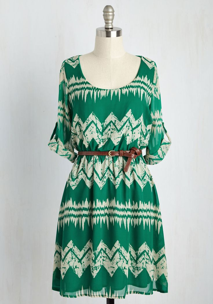 Mountain Dwelling Dress. Tucked away behind peaks and pine trees, you enjoy morning sips of tea wearing this frond-green frock.  #modcloth
