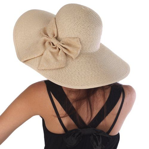 floppy hats for women | Sun Hats: Luxury Lane Women's Beige Floppy Sun Hat With Bow Special ...