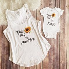 Mommy and me matching outfit You are my sunshine by KyCaliDesign