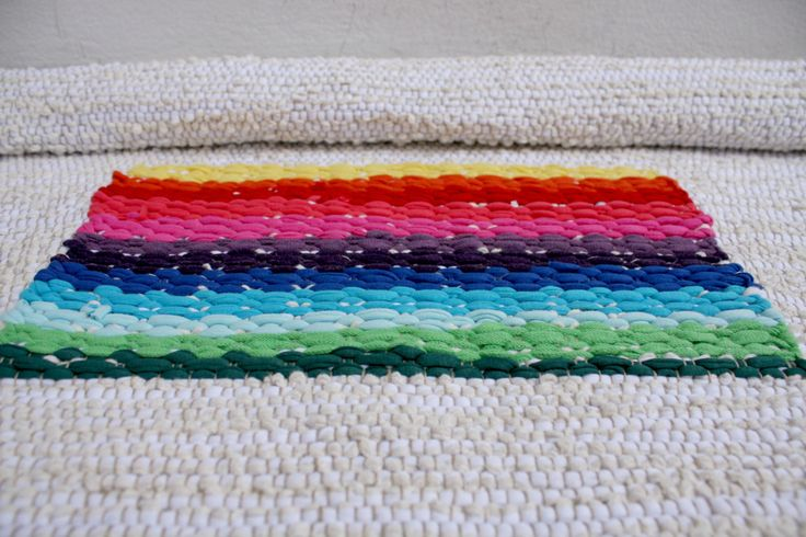rainbow white handwoven rug by ERGANIweaving on Etsy