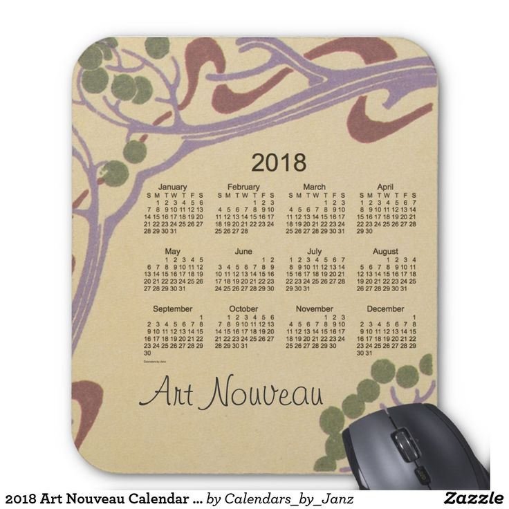 2018 Art Nouveau Calendar by Janz Mouse Pad