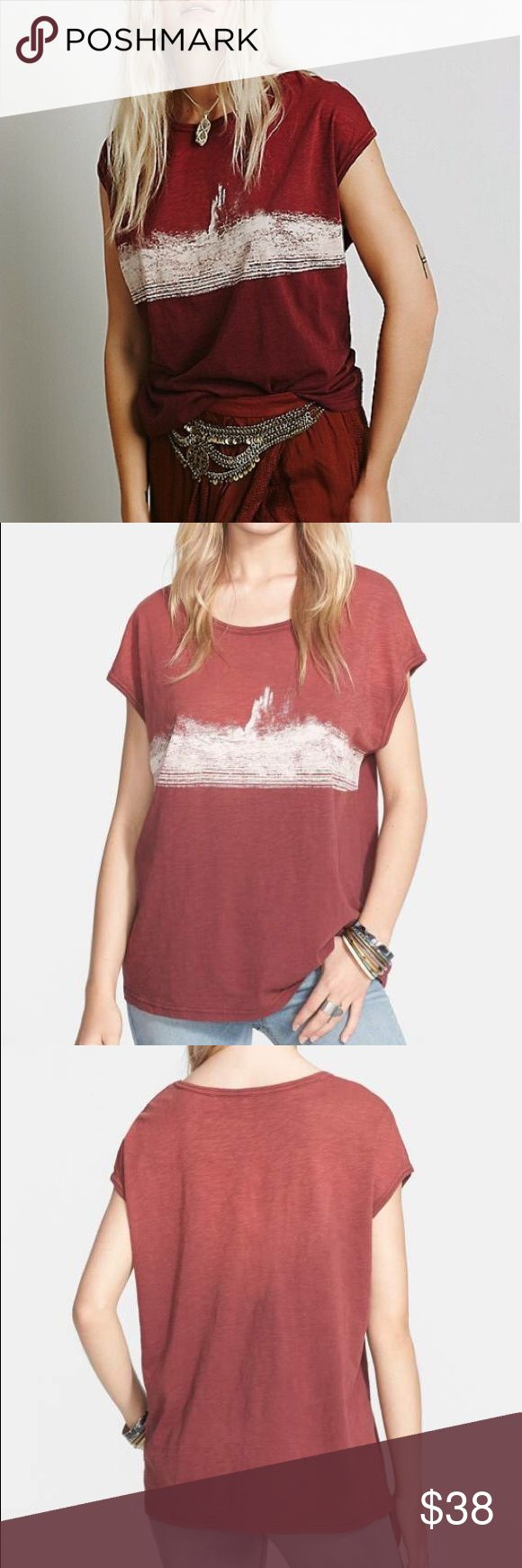 "Free People Thunder Moon Abstract Graphic Tee FP Free People We the Free ""Thunder Moon"" graphic tee with abstract mountain print. Burnt orange ombré color. Size medium, looks great oversized on small too. Excellent condition. Sold out on FP. Make me an offer! Free People Tops Tees - Short Sleeve"
