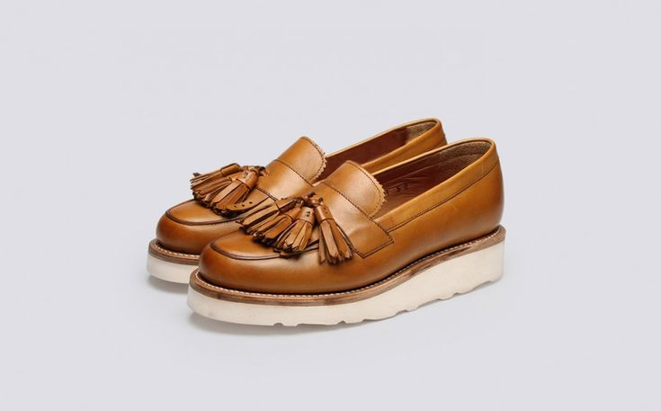 Womens Loafer in Tan Calf Leather with a White Wedge Sole | Clara | Grenson Shoes - three Quarter View