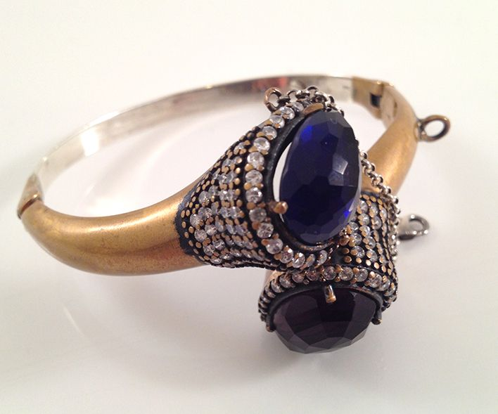 vintage style gold plated silver cubic zircon and dark blue and purple cornelian stone bangle.wwwspringjewelry.ecrater.com