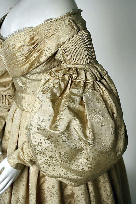 Sleeve detail, British silk, wool and cotton evening dress, ca. 1835, Met                                                          Culture:                                        British                                                          Medium:                                        silk, wool, cotton: British Medium, Evening Dresses, Dresses Sleeve, Historical Fashion, Metropolitan Museum, C 1835 British, 1835 Culture, 1830 S, Silk Wool