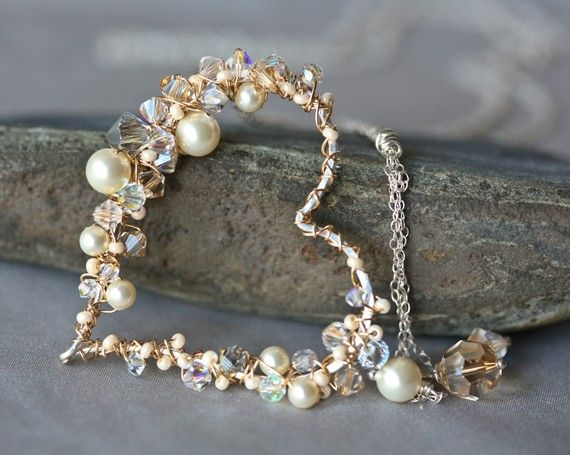 Pearl and Crystal Wire Wrapped Heart - I want this!