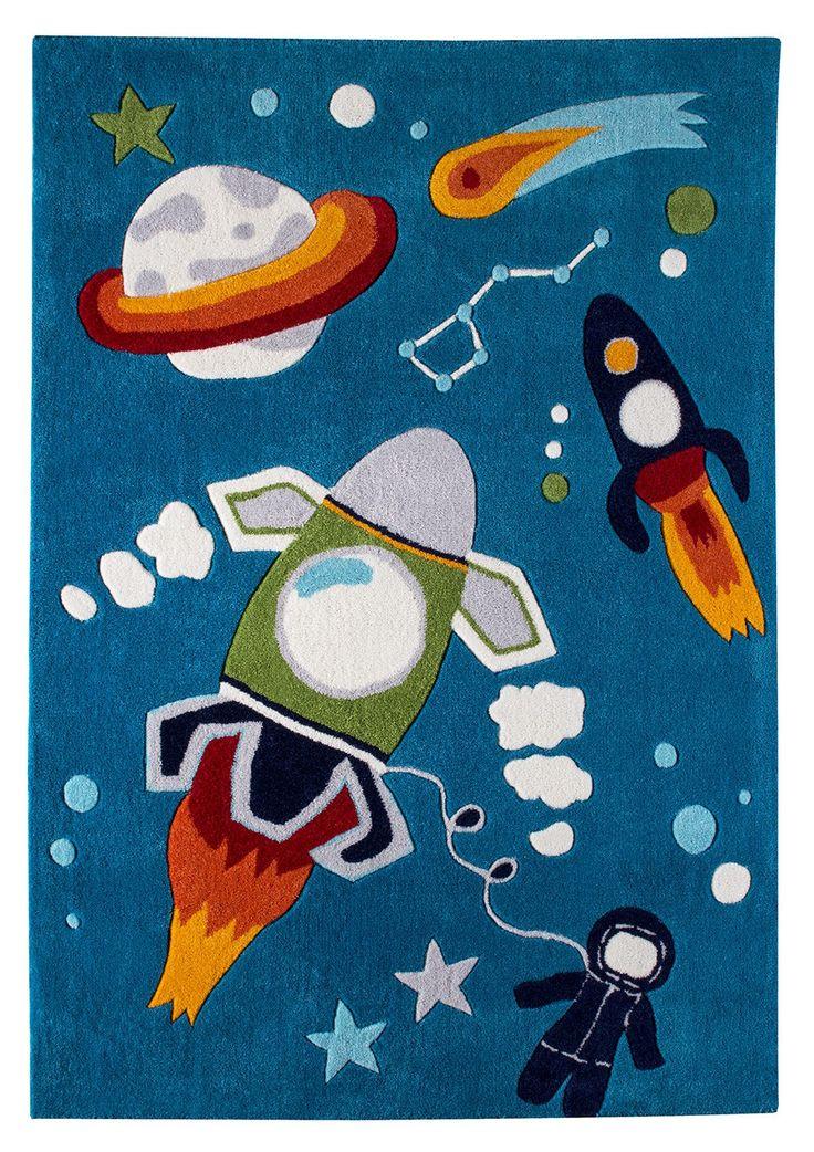 Blattschuss von Kinderteppich Kevin in der Farbe blau