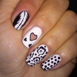 Girly black and white nails