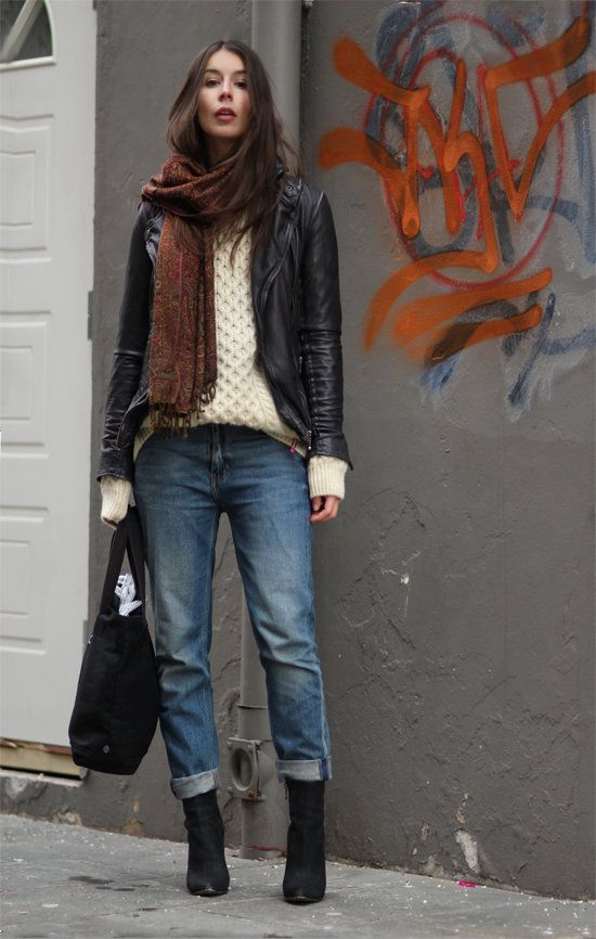 139 Street Snaps to Inspire Your Most Stylish Winter Ever : A cozy sweater and scarf give seasonal warmth to boyfriend denim and on-trend ankle boots.  Source: Lookbook.nu
