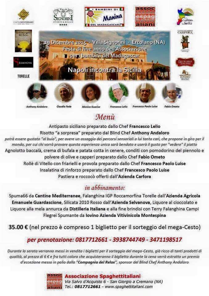 Il Menù ed il programma della notte alle Falde del Vesuvio!!!