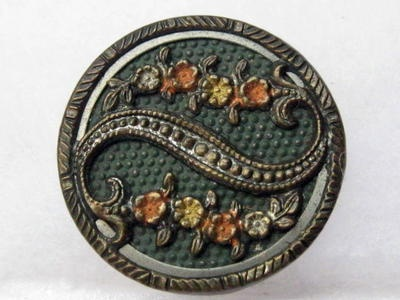 """Antique Victorian Picture Button Scrolled Metal Ribbon w/Floral Sprays... Collector Note: This appears to be tint/paint, Not fired, so will easily be - Poof gone - if over cleaned. Also appears to be designed with an original Dark patina. Whether by design, or age, once you have removed Patina, only time will add that """"old look"""", again. Granted, some buttons look great, all bright and shiny... Some are clearly better showing their age."""