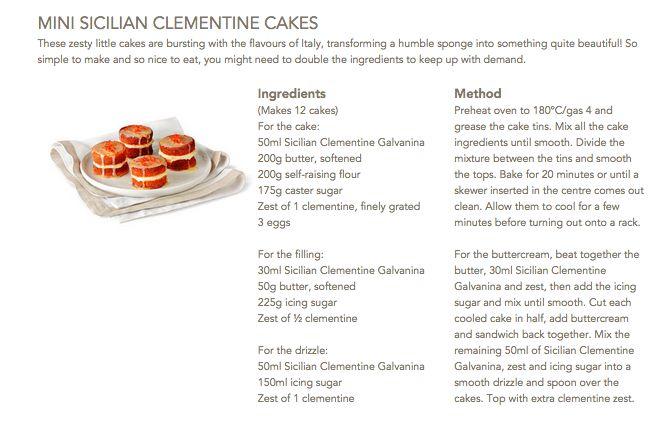 Mini Sicilian Clementine Cakes #Galvanina #drink #recipe