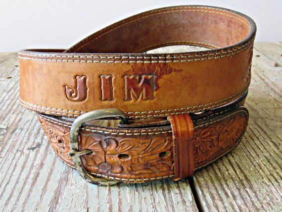 Vintage 1980/'s Brown Tooled Leather Belt with Large Rodeo Belt Buckle