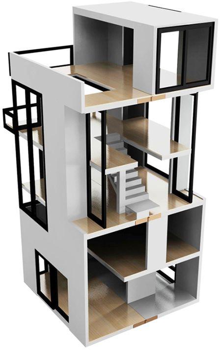 Modern Doll Houses: Bennet House by Brinca Dada - inspiracion para una futura casita, después de hacer las dos que ya tengo