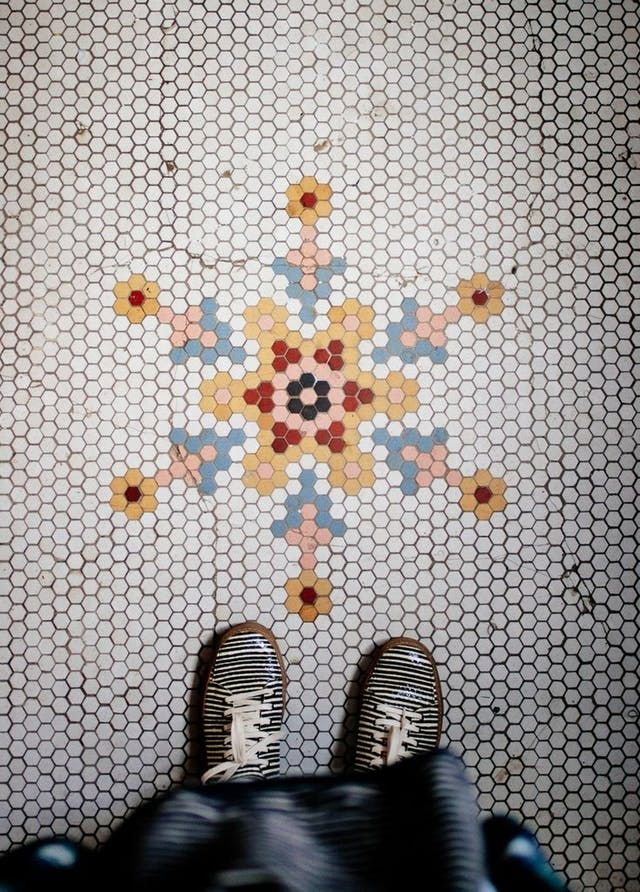 Hex tiles — those little bitty six-sided tiles that are so common in bathrooms and in older buildings — can be configured in almost infinite variations