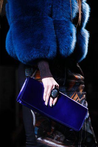 Jean Paul Gaultier, blue fur + clutch