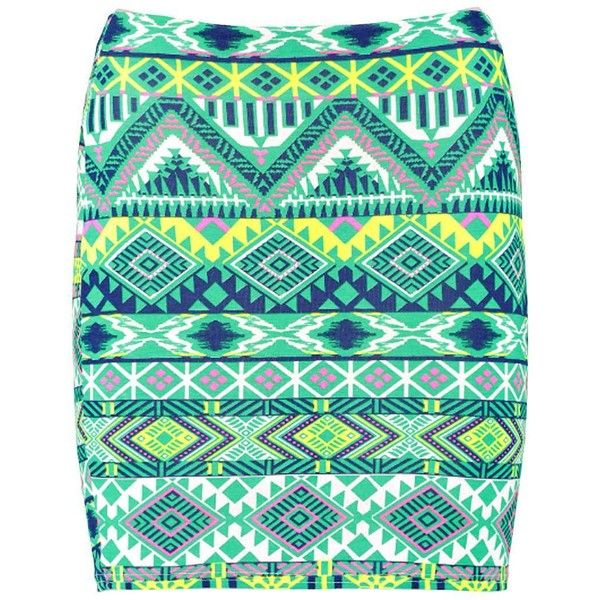 Boohoo Nico Neon Aztec Bodycon Mini Skirt ($10) ❤ liked on Polyvore featuring skirts, mini skirts, bottoms, faldas, neon green mini skirt, miniskirts, aztec mini skirt, women skirts and rayon skirt