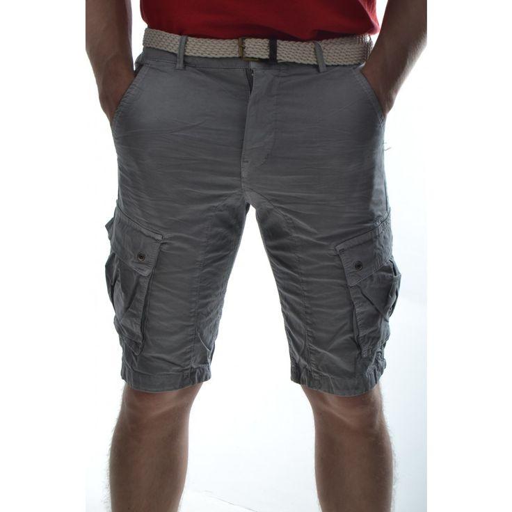 Pánske krátke nohavice s vreckami - sivé