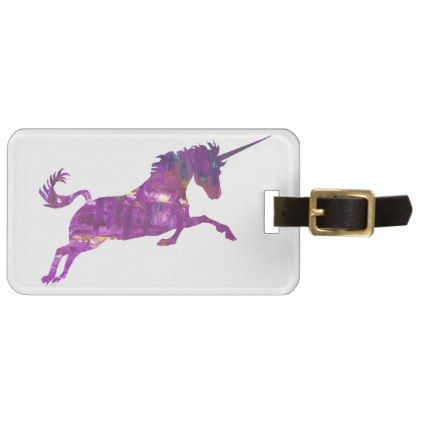 Unicorn in purple luggage tag - girl gifts special unique diy gift idea