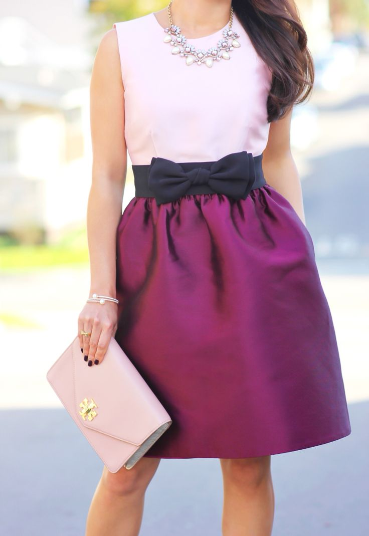 Kate Spade swift dress, black bow belt, Tory Burch Kira envelope clutch, Ily Couture crystal double wrap bracelet - Holiday outfit - for full outfit details, visit: http://www.stylishpetite.com/2014/12/ily-couture-and-kate-spade-swift-dress.html