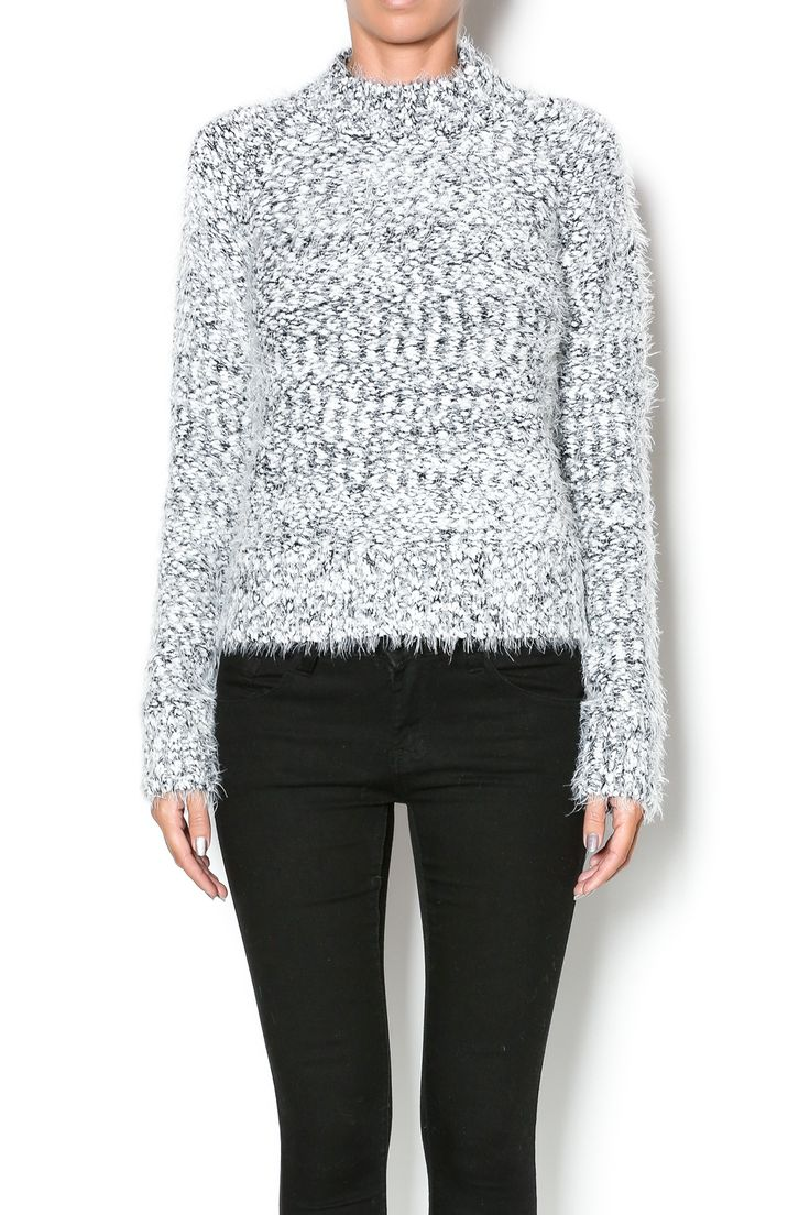 Cozy marled sweater inblack and white with a high neckline.   Cozy Marled Sweater by Search for Sanity. Clothing - Sweaters - Turtleneck New York City