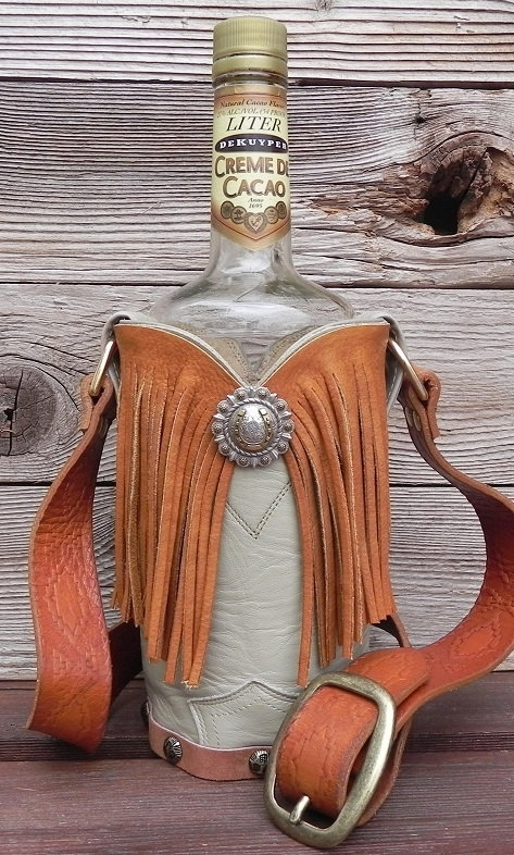17 best images about leather cover bottles on pinterest for Wine bottle crafts for sale