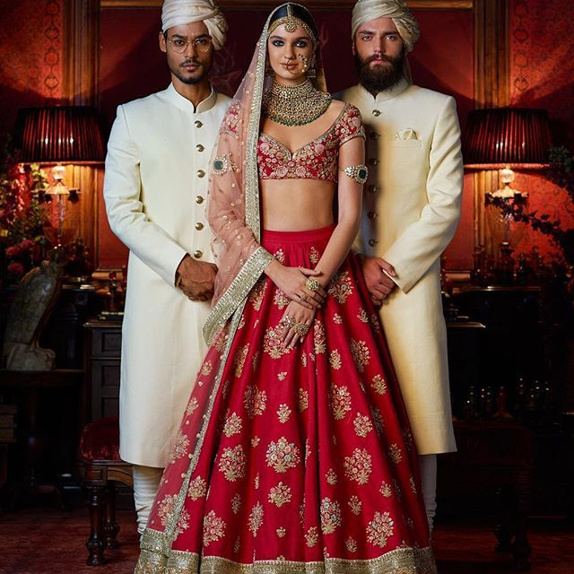 Zesty Nd Fresh Scarlet Coloured Bridal Couture By Sabyasachi