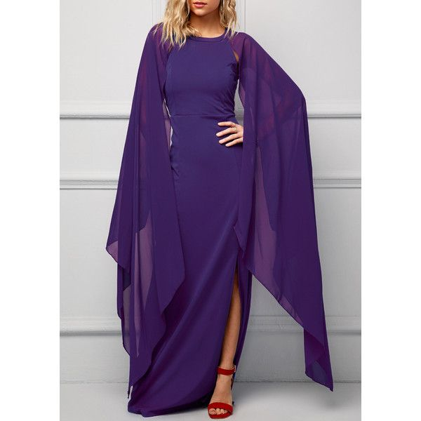Front Slit Cape Sleeve Purple Maxi Dress ($27) ❤ liked on Polyvore featuring dresses, purple, purple dresses, pattern dress, round neck dress, maxi dress and straight dresses