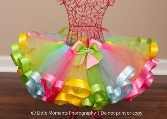 Rainbow Sherbet Ribbon Trim Tutu by HaloTutus on Etsy, $35.00