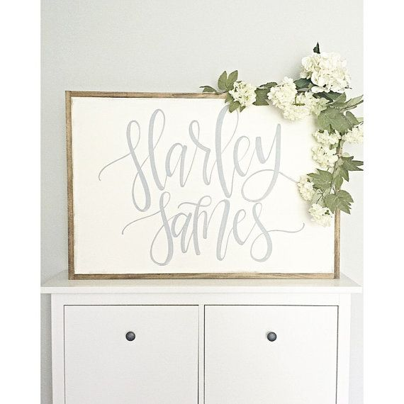 Size: LARGE 25x36  Details: This sign features a reclaimed wood frame with slightly off white distressed background with light grey, hand painted script style lettering.  **Hanging hardware is not included in this listing, but it can be purchased in my shop!  Also, please note: Flowers are not included with the sign. They were used for display purposes only.  When ordering, please keep in mind no two pieces of wood are the same, and no two signs will appear identical in stain color…