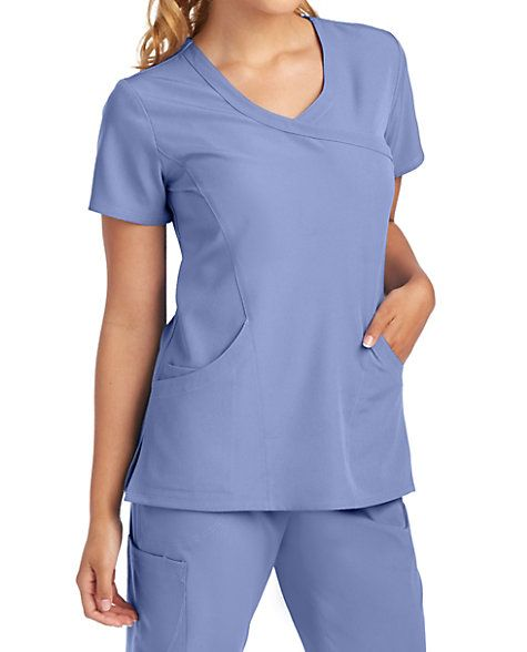 Skechers Balanced 3 Pocket Mock Wrap Scrub Tops | Scrubs