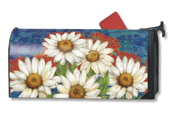 """DESIGNER DAISIES SPRING FLOWERS MAGNETIC MAILBOX COVER & 1"""" NUMBERS #MagnetWorks:"""