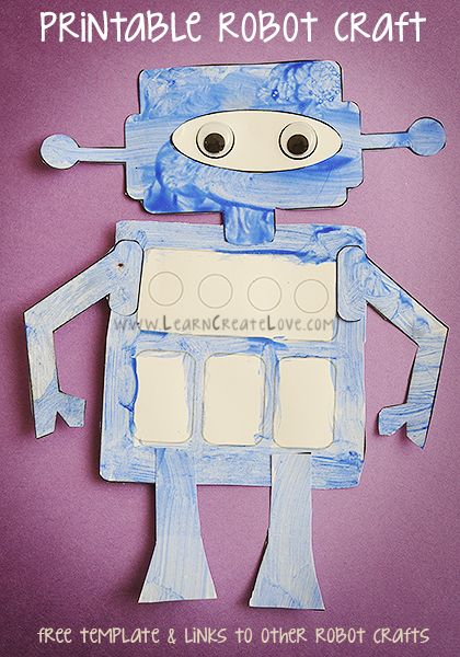 free printable craft ideas printable robot craft from learncreatelove 4514