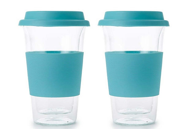 Set of 2 Double Wall Mugs, Turquoise