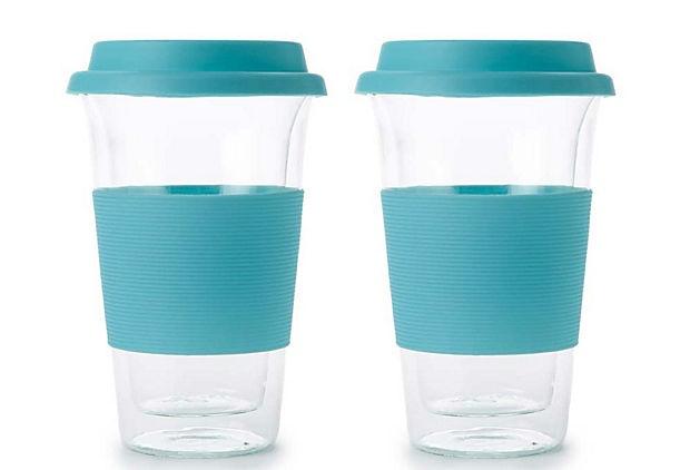 Set of 2 Double Wall Mugs, Turquoise