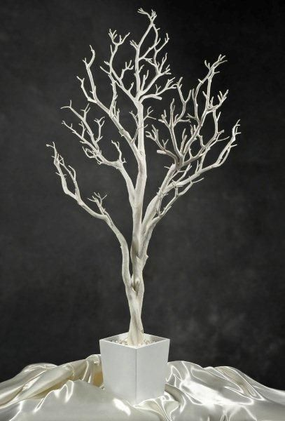 Potted white tree would look amazing with black hanging crystals, black ribbon, and crows!