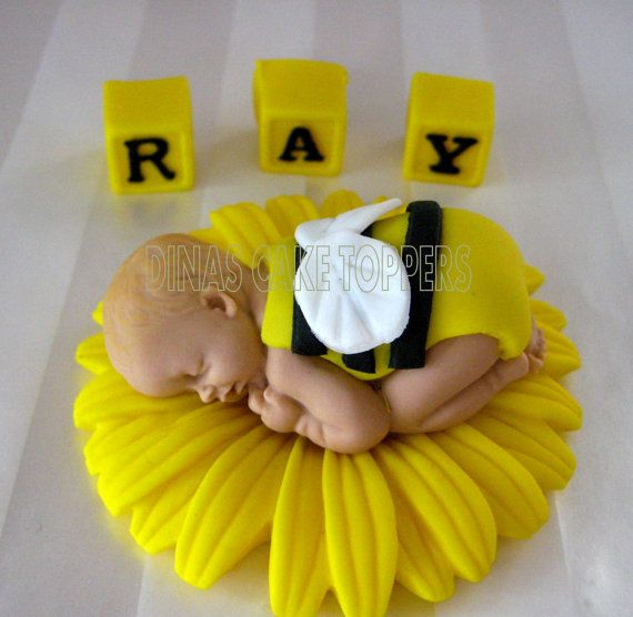 Bumble BEE Cake Topper With Matching Blocks By DinasCakeToppers