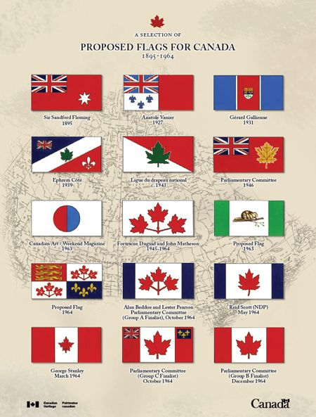 Proposed Flags for Canada - Sir Sandford Fleming 1895, Anatole Vanier 1927, Gérard Galienne 1931, Ephrem côté 1939, Ligue du drapeau national c.1943, Parliamentary Committee 1946, Canadian Art/Weekend Magazine 1963, Fortescue Duguid and john Matheson 1945-1964, Proposed Flag 1963, Proposed Flag 1964, Alan Beddoe and lester Pearson Parliamentary Committee (Group A Finalist), October 1964, Reid Scott (NDP) May 1964, George Stanley March 1964, Parliamentary Committee (Group C Finalist) October…