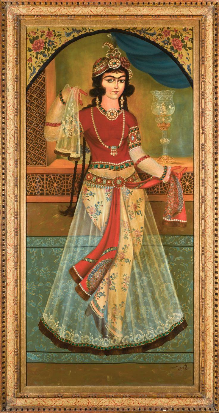 دوشیزه رقصنده، رقم حسین، سده بیستم، رنگ و روغن بر روی بوم، ۱۴۶ در ۶۸.۵ سانتیمتر، مزایده ستبی A dancing maiden, signed by Hossein, Persia, 20th century oil on canvas 146 by 68.5cm. Sotheby's