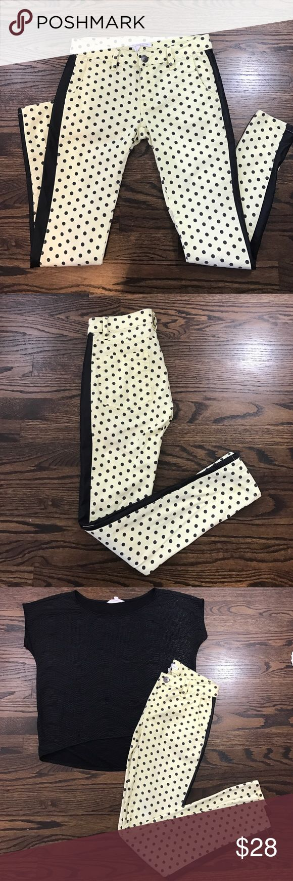 Yellow & Black Polka A Dot & Vegan Leather Jeans. Yellow & Black Polka A Dot & Vegan Leather Jeans.  Looks really cute with the black BCBGeneration top I'm also selling! BCBGeneration Pants Skinny